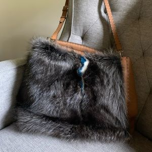 Fendi fur leather mix hobo bag
